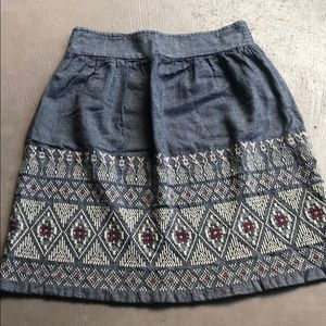 Lucky Brand Chambray Embroidered Boho Skirt M